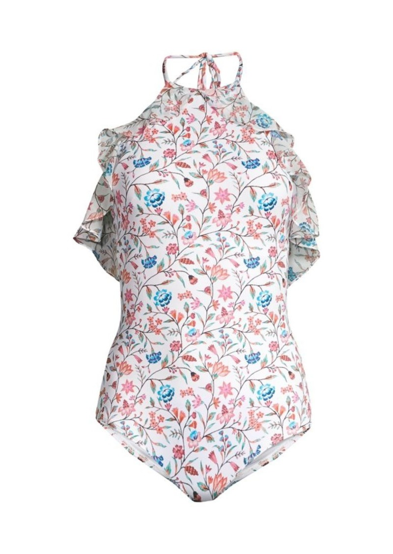 Shoshanna Veranda Floral Halter One-Piece