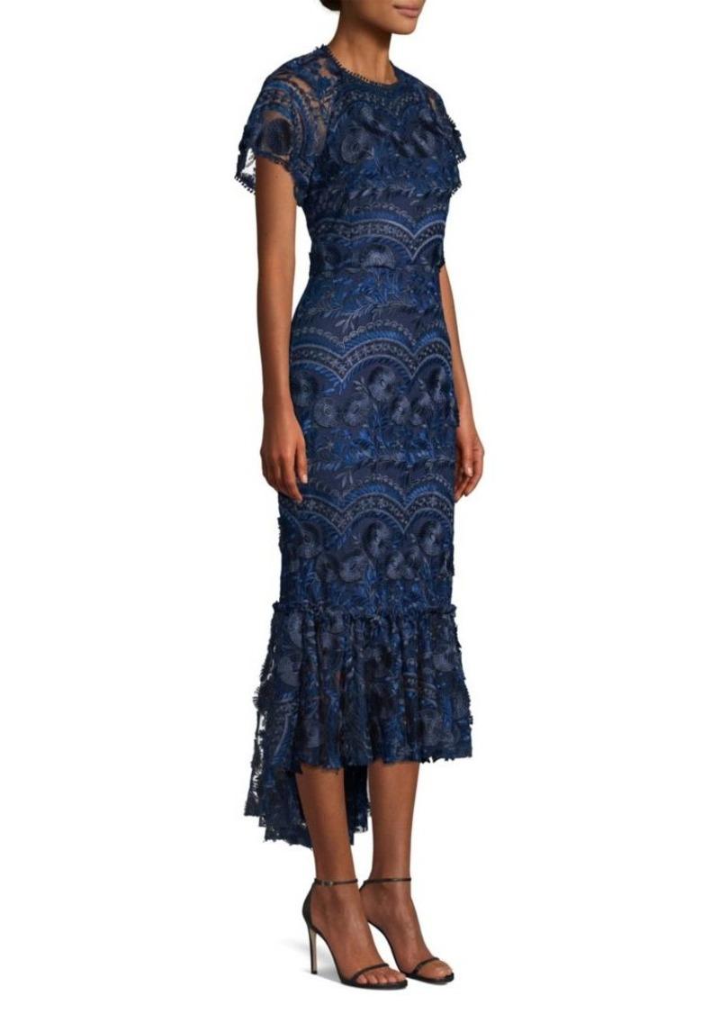 Shoshanna Vinca Embroidered Ruffled Hem Dress
