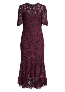 Shoshanna Vitti Floral Lace Flounce Midi Sheath Dress