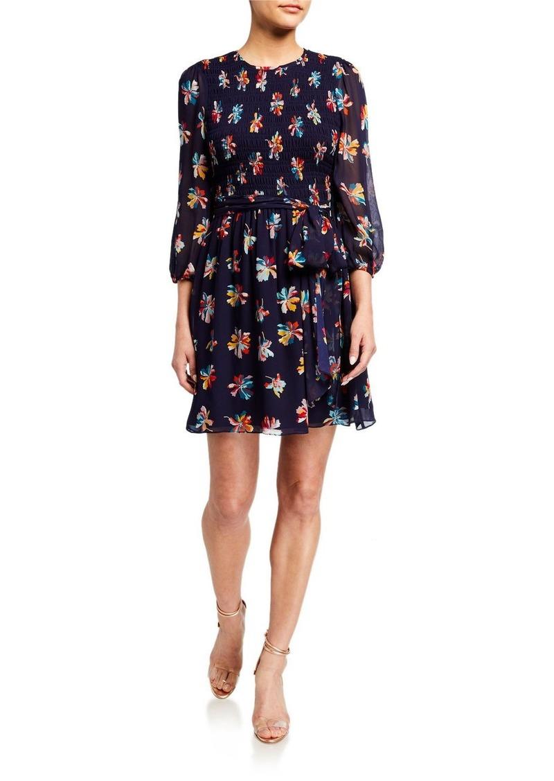 Shoshanna Walker Delos Print 3/4-Sleeve Dress