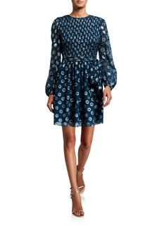 Shoshanna Walker Metallic Clip Dot Blouson-Sleeve A-Line Dress