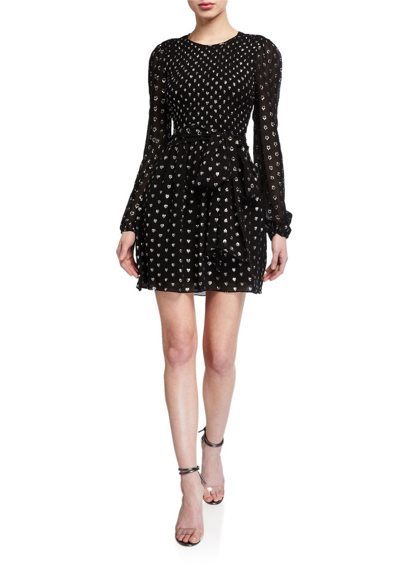 Shoshanna Walker Metallic Heart Clip Blouson-Sleeve Dress