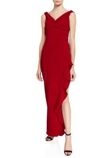 Shoshanna Wells V-Neck Sleeveless Side Ruffle Column Gown