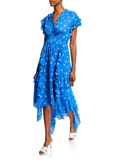 Shoshanna Yasmine Flutter-Sleeve Handkerchief Dress