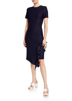 Shoshanna Zola Short-Sleeve Asymmetric Ruffle Dress