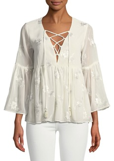Show Me Your Mumu Poet Metallic-Embroidered Peasant Blouse
