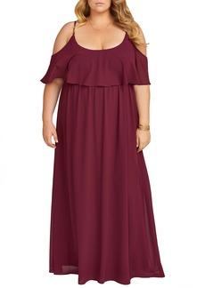 Show Me Your Mumu Caitlin Ruffle Cold Shoulder Evening Dress (Plus Size)