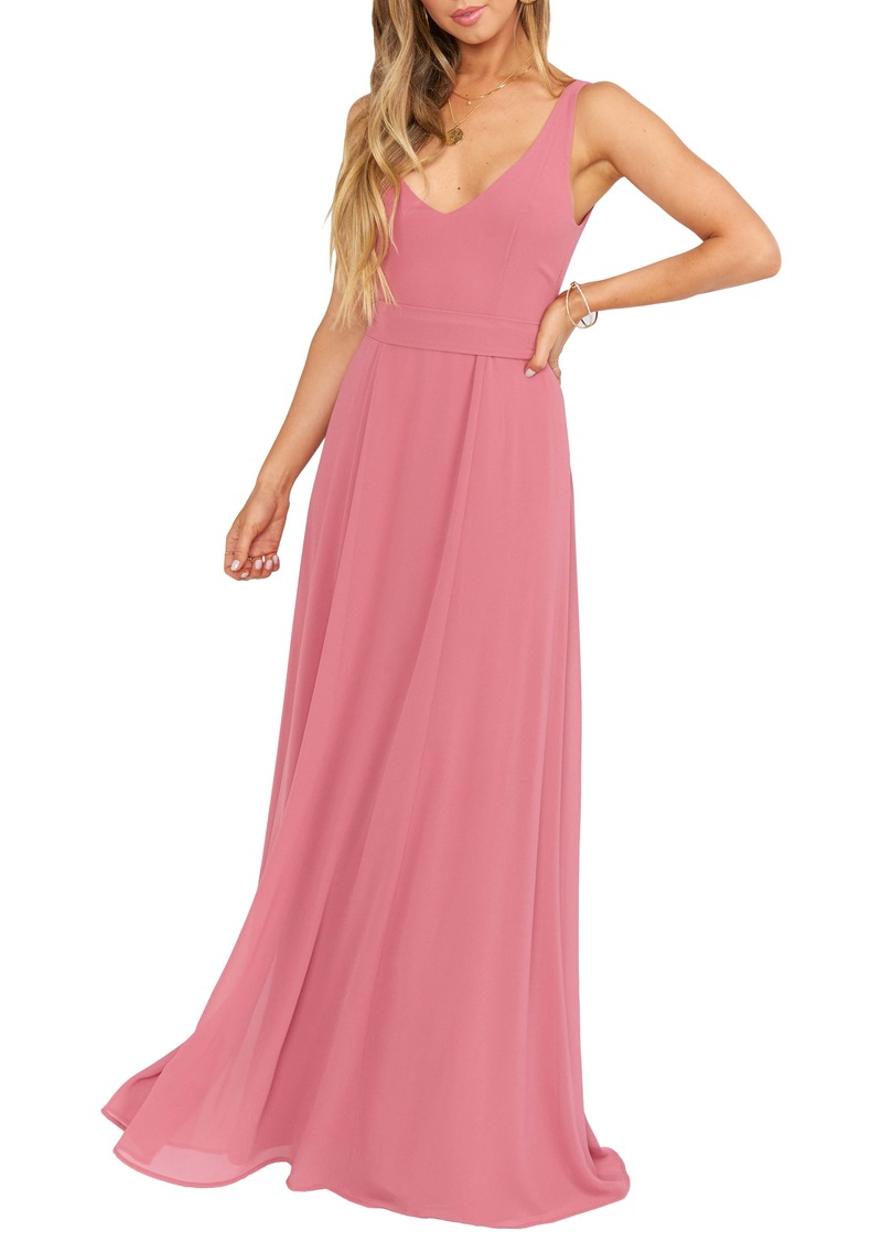 Show Me Your Mumu Jenn Tie Back Chiffon Gown