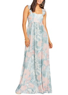 Show Me Your Mumu June Floral Print Ruffle Strap Gown