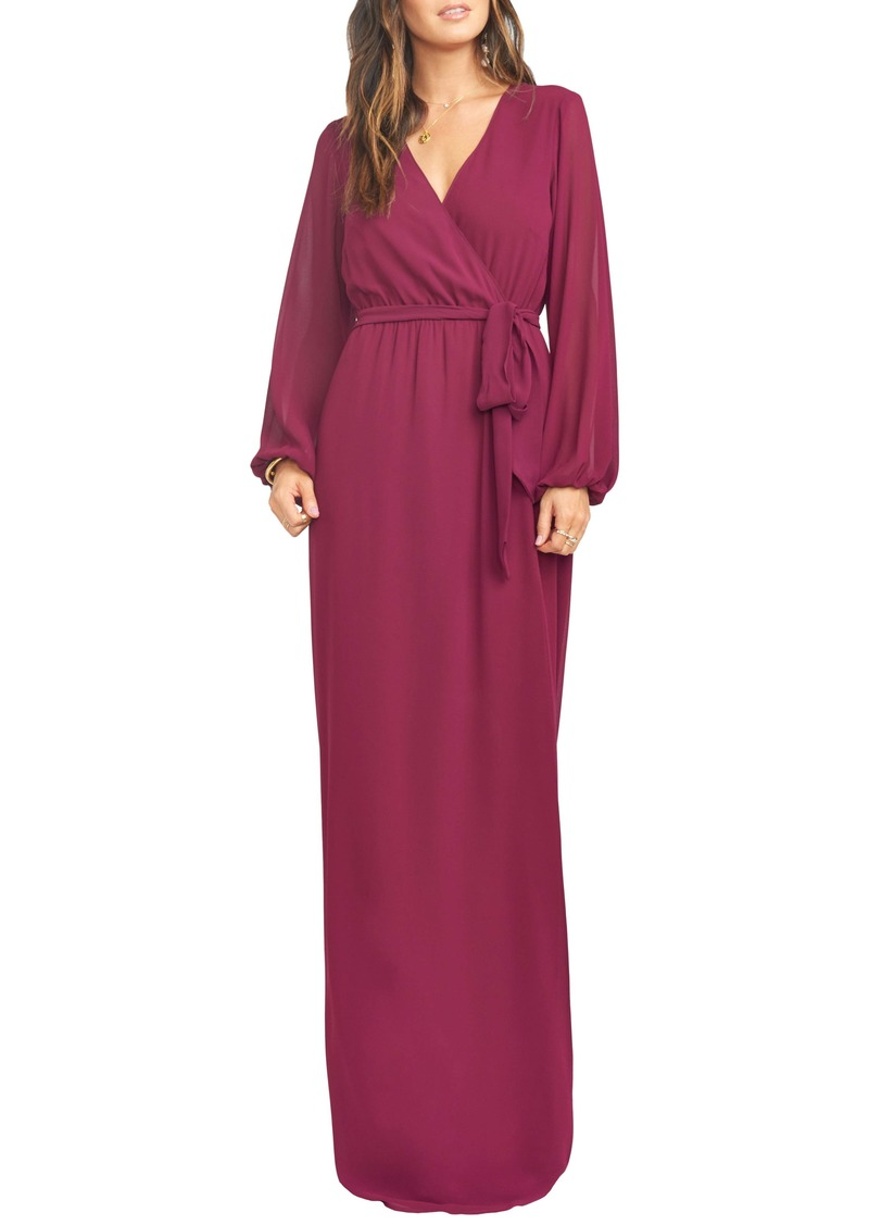 Show Me Your Mumu Lady Long Sleeve Faux Wrap Gown