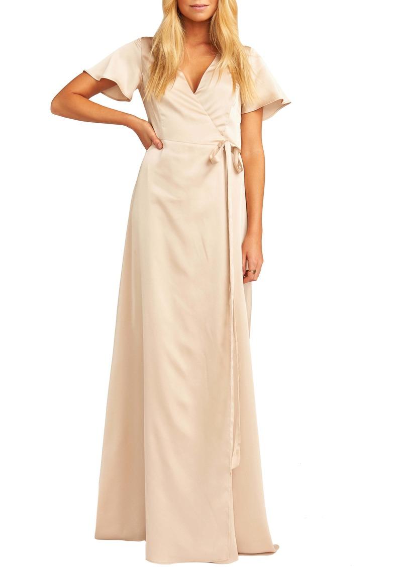 Show Me Your Mumu Noelle Satin Wrap Evening Dress