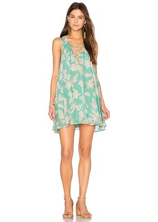 Show Me Your Mumu Rancho Mirage Lace Up Dress in Green. - size L (also in M,S)