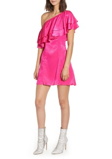 Show Me Your Mumu Ruffle One-Shoulder Satin Minidress