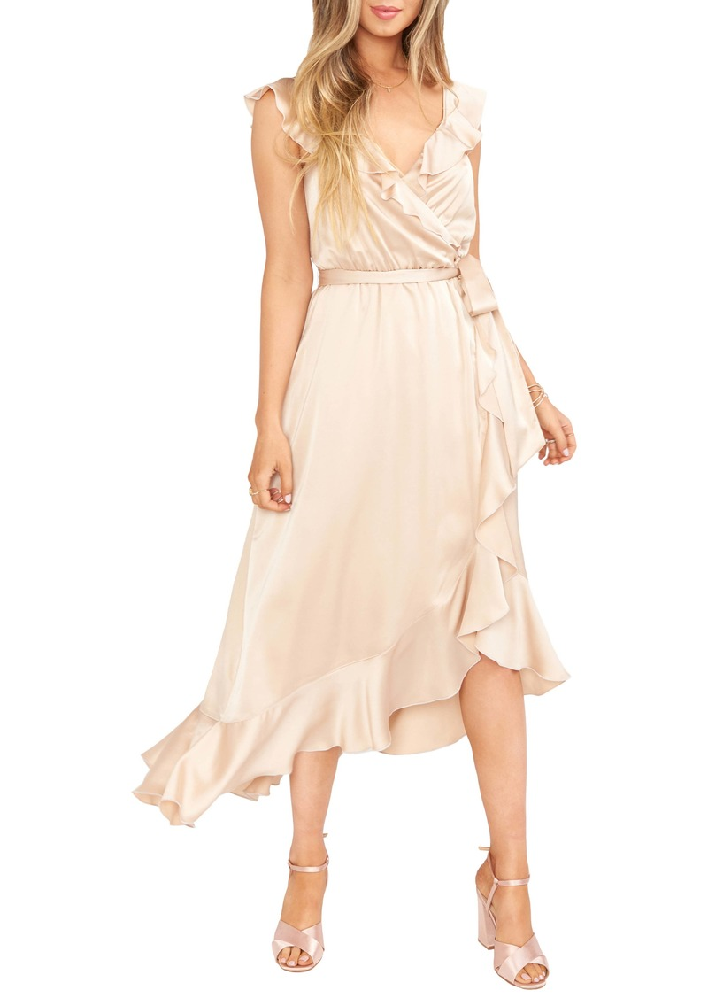 Show Me Your Mumu Samantha Ruffle Satin High/Low Faux Wrap Dress
