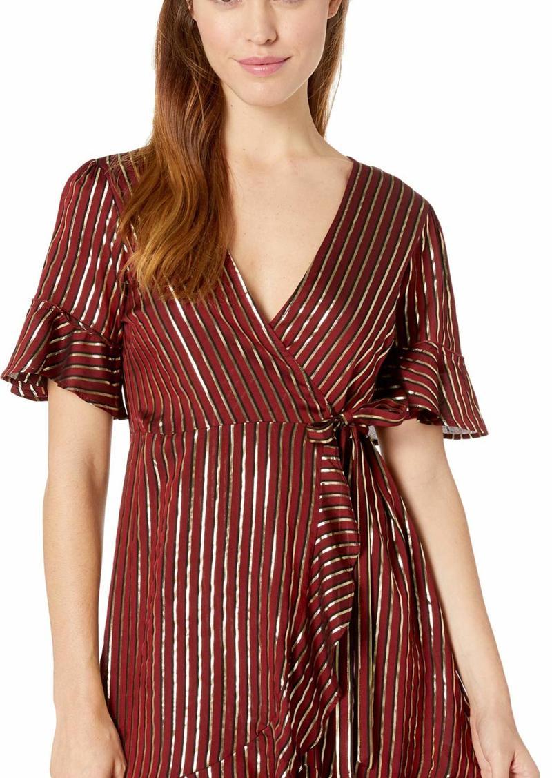 Show Me Your Mumu Women's Leslie Mini wrap Dress Stripe Yarn dye