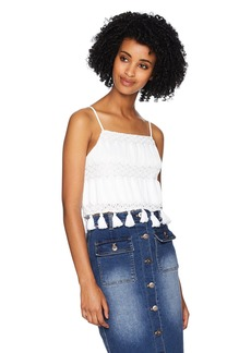 Show Me Your Mumu Women's Nellie Tassel Tank Mademoiselle lace White