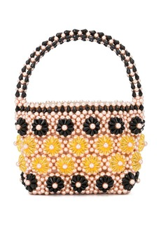 Shrimps beaded floral tote
