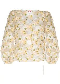 Shrimps Cordelia floral-embroidery puff-sleeve blouse