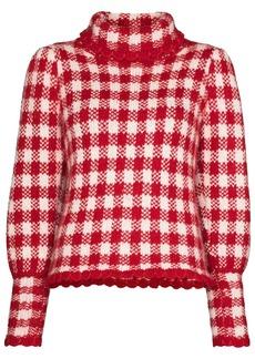 Shrimps Elisa check-pattern roll-neck jumper