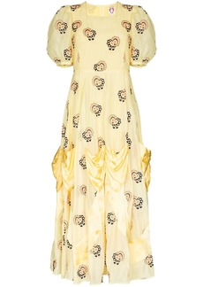 Shrimps Mia heart-embroidered maxi dress