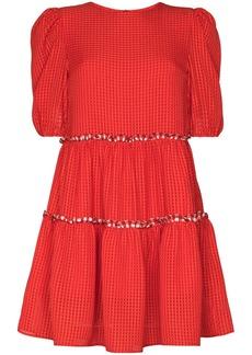 Shrimps ruffle-trim seersucker mini dress