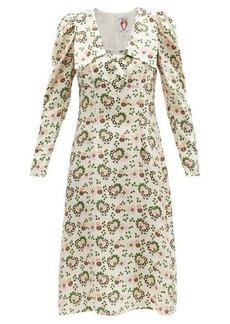 Shrimps Elton paisley-heart print silk-twill dress