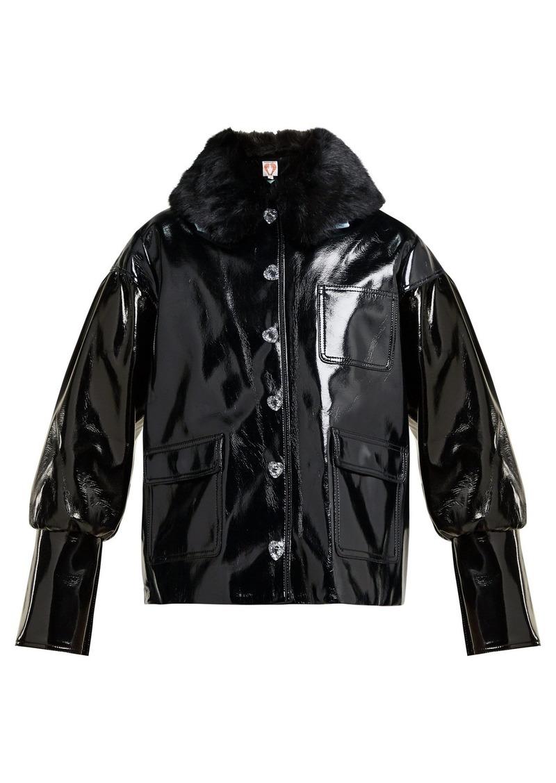 Shrimps Liam faux-fur collar PVC bomber jacket