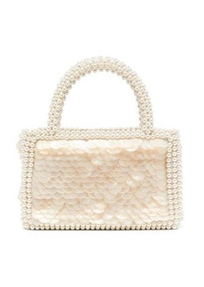 Shrimps Pax shell-sequin and faux pearl-embellished bag
