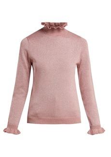 Shrimps Robin ruffle-collar Lurex-knit sweater