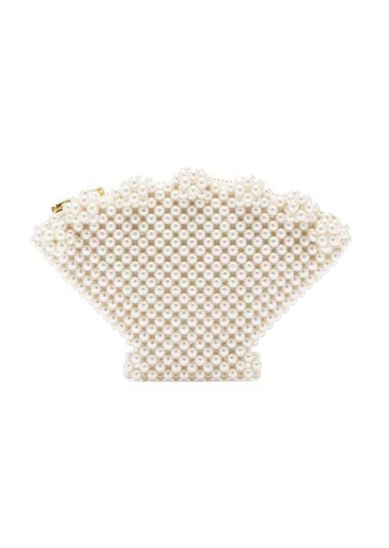 Shrimps Shell faux pearl-embellished clutch