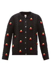 Shrimps Silos cherry cable-knit wool-blend cardigan