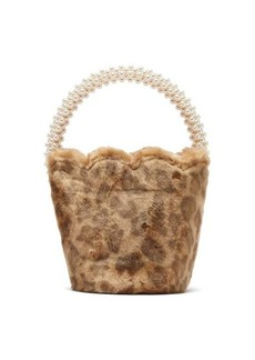 Shrimps Verity leopard-print faux-fur bucket bag