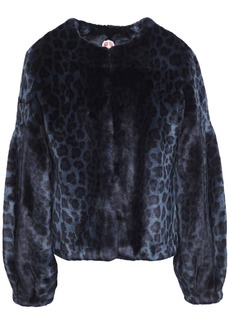 Shrimps Woman Fergal Leopard-print Faux Fur Jacket Navy