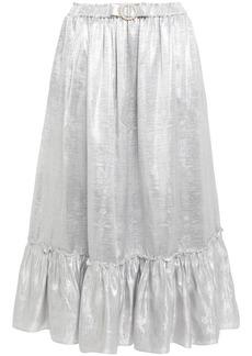 Shrimps Woman Pearl Bow-embellished Metallic Jacquard Midi Skirt Silver