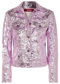 Sies Marjan Alby Cropped Metallic Crinkled-jacquard Jacket
