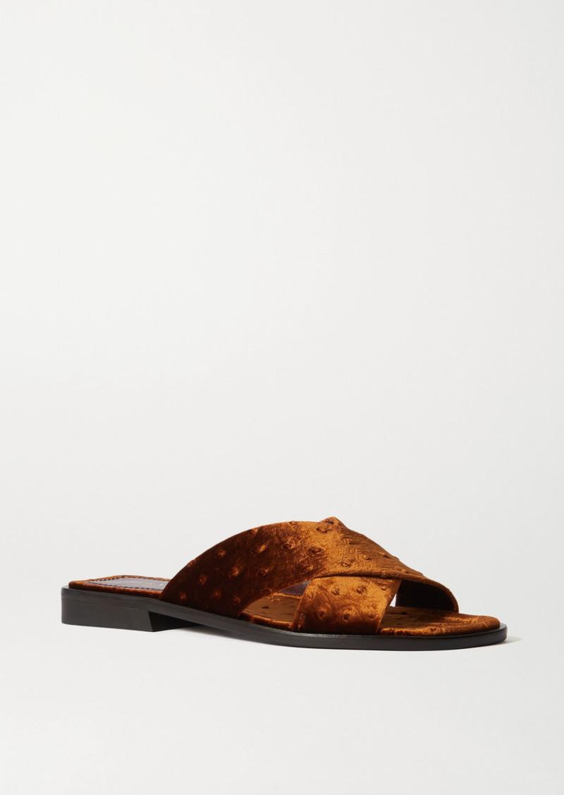 Sies Marjan Cassie Ostrich-effect Velvet Sandals