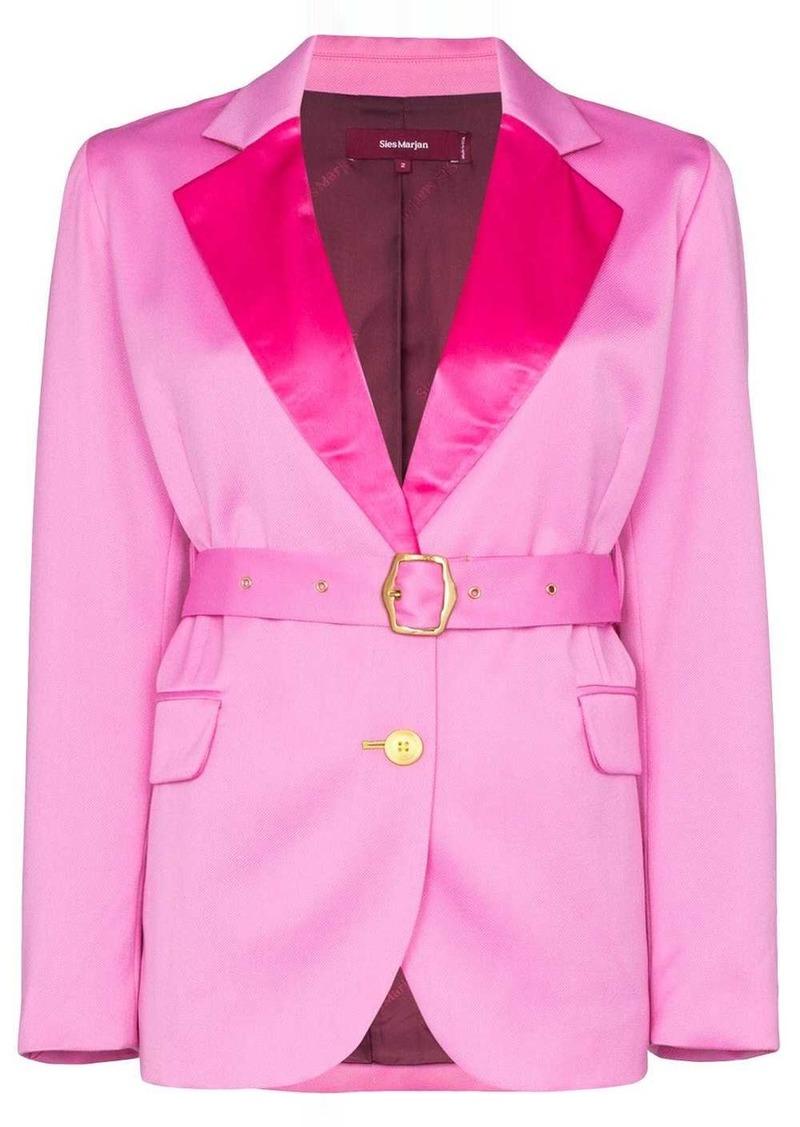 Sies Marjan contrast-lapel belted blazer