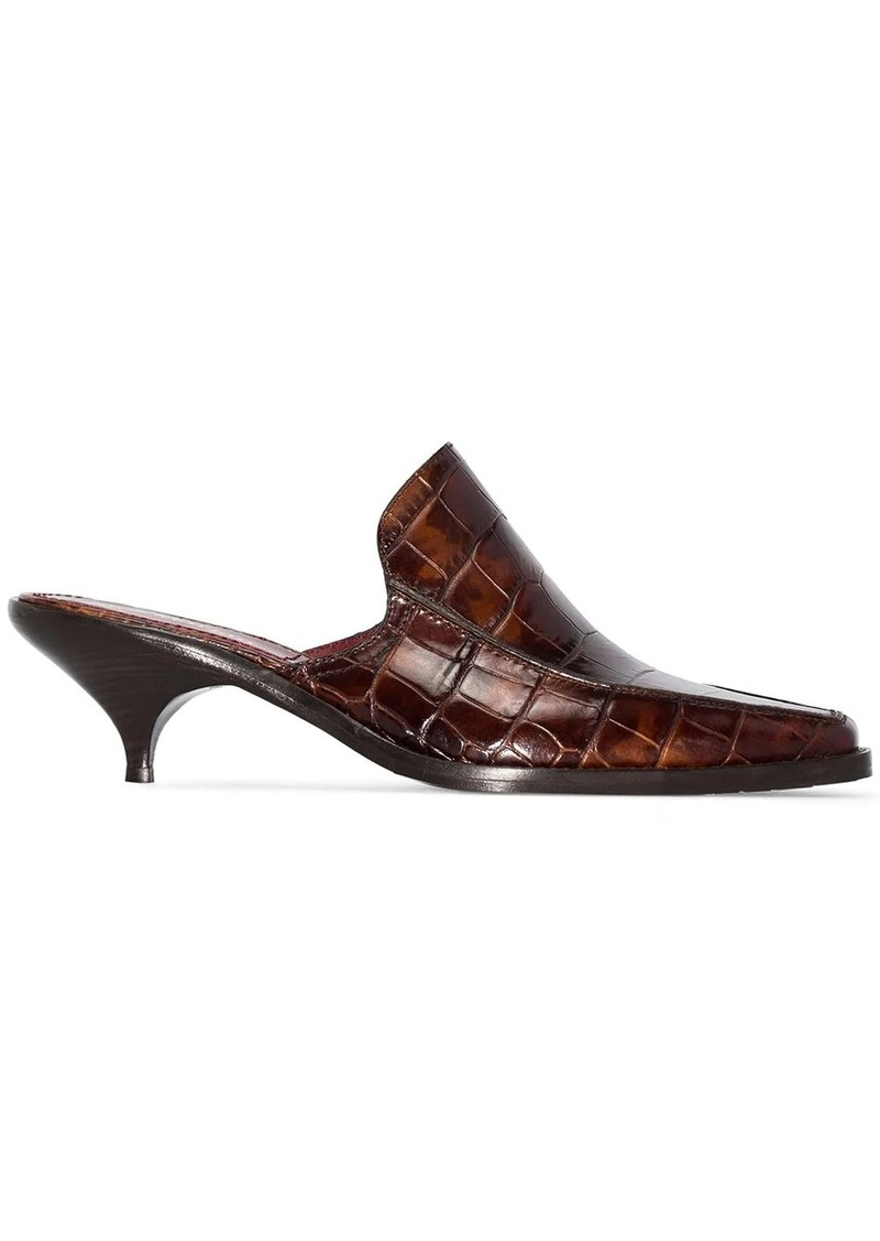 Sies Marjan Kaya 50mm croc-embossed leather mules
