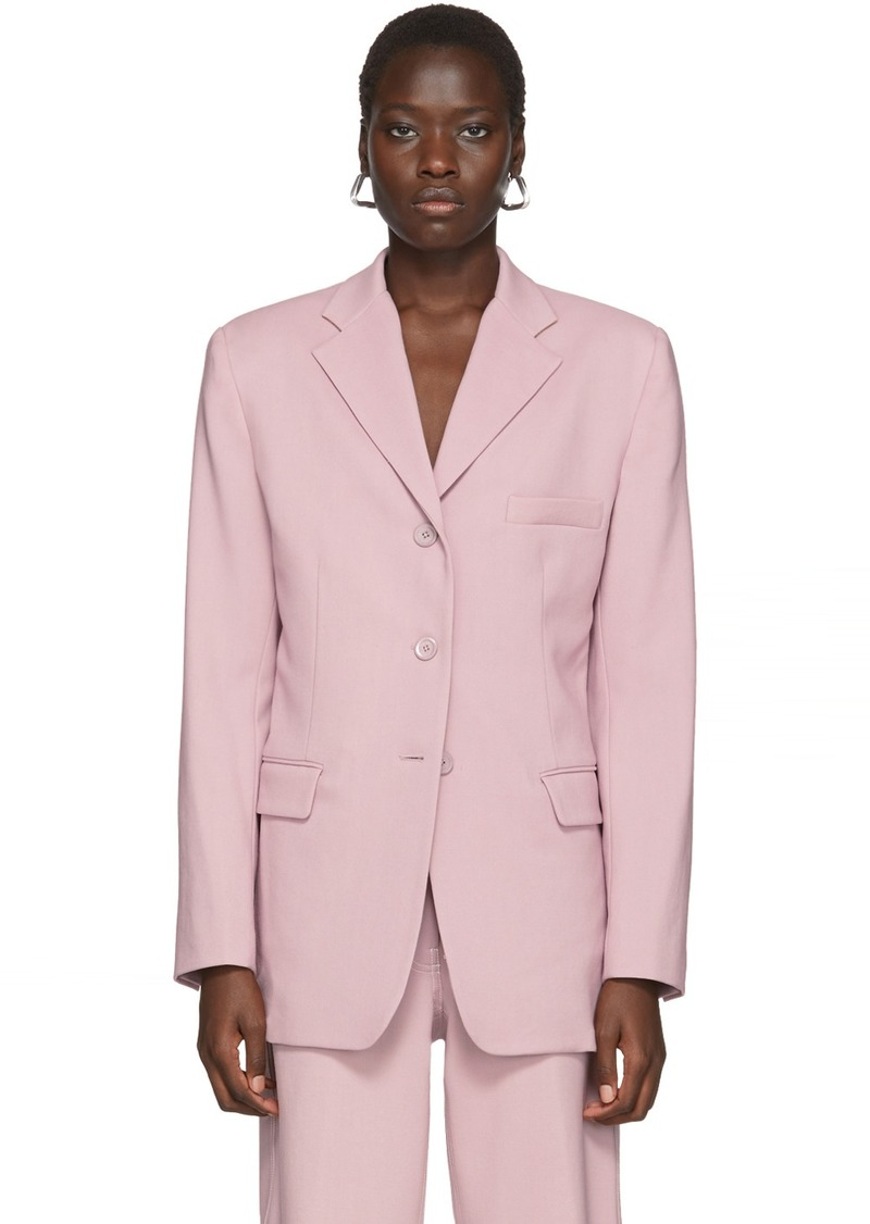 Sies Marjan Pink Wool Canvas Molly Oversized Blazer