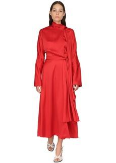 Sies Marjan Satin Crepe Envers Midi Dress W/ Scarf