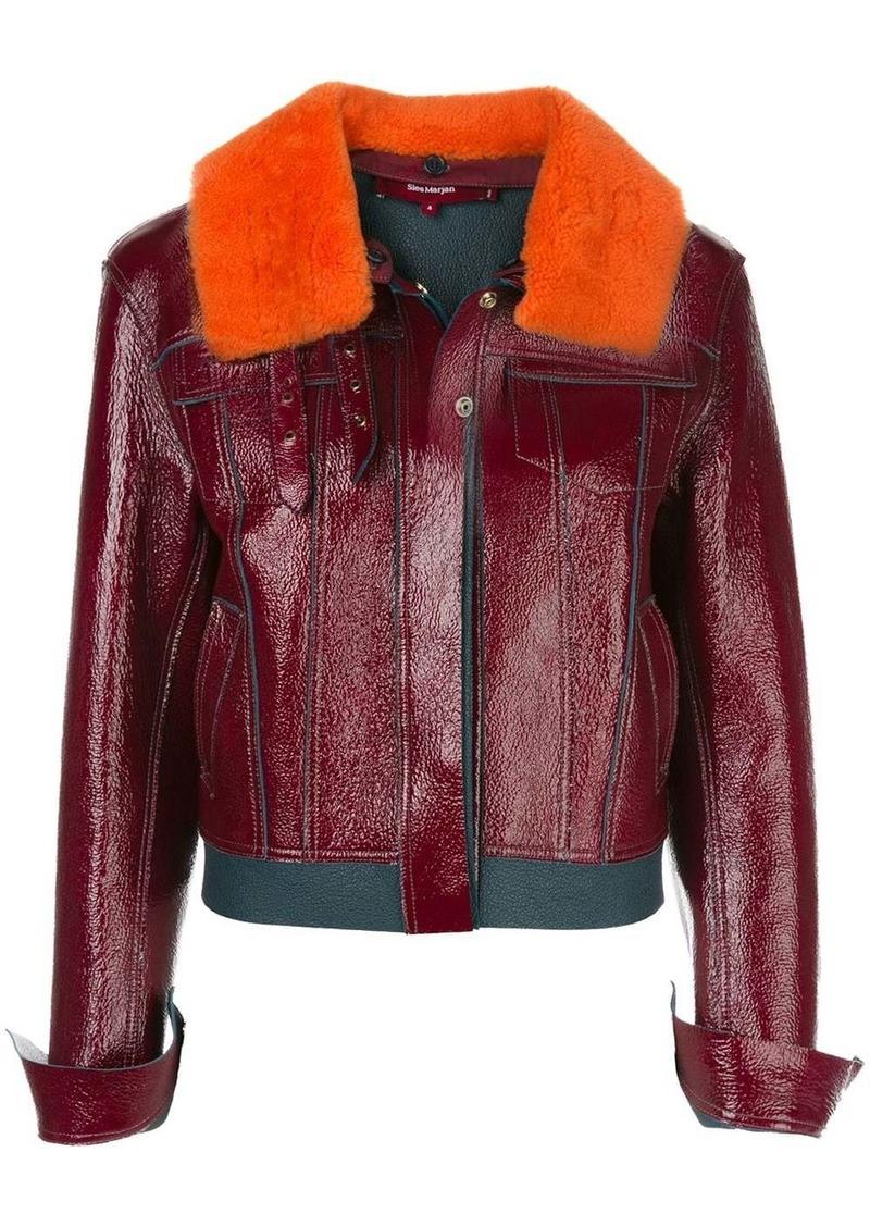 Sies Marjan shearling collar leather jacket