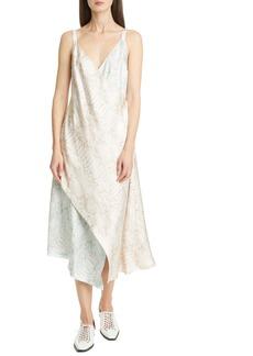Sies Marjan Alicia Snake Print Silk Twill Faux Wrap Midi Dress
