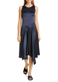Sies Marjan Asymmetrical Crinkled Satin Midi Dress