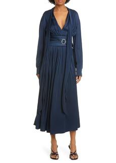 Sies Marjan Belted Crepe Back Satin Long Sleeve Midi Dress