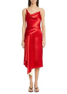Sies Marjan Farrah Drape Satin Midi Dress