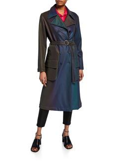 Sies Marjan Iridescent Satin Trench Coat