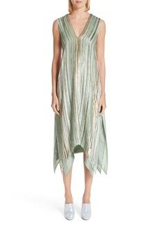 Sies Marjan Metallic & Velvet Stripe Handkerchief Hem Dress