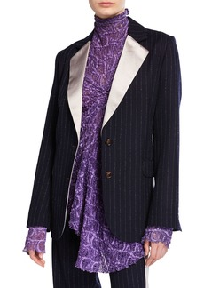 Sies Marjan Pinstriped Wool Blazer