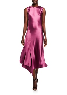 Sies Marjan Vanessa Crinkled-Satin Asymmetric Dress