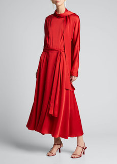 Sies Marjan Viscose Satin Tie-Neck Wrap Dress